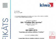 ISO 9001:2015 Kvalitātes pārvaldības sistēmas