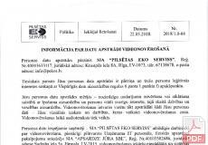 Informācija par datu apstrādi videonovērošanu
